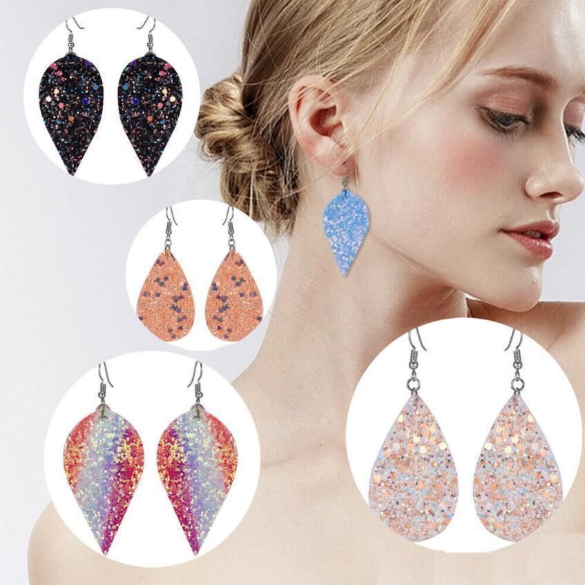 Bohemia Multicolor Sequins Cuir Drop Boucles d'oreilles PU feuilles Cuir Longue Goutte Boucles d'oreilles pour femmes Mode Bijoux Fête Cadeaux 12 Couleurs