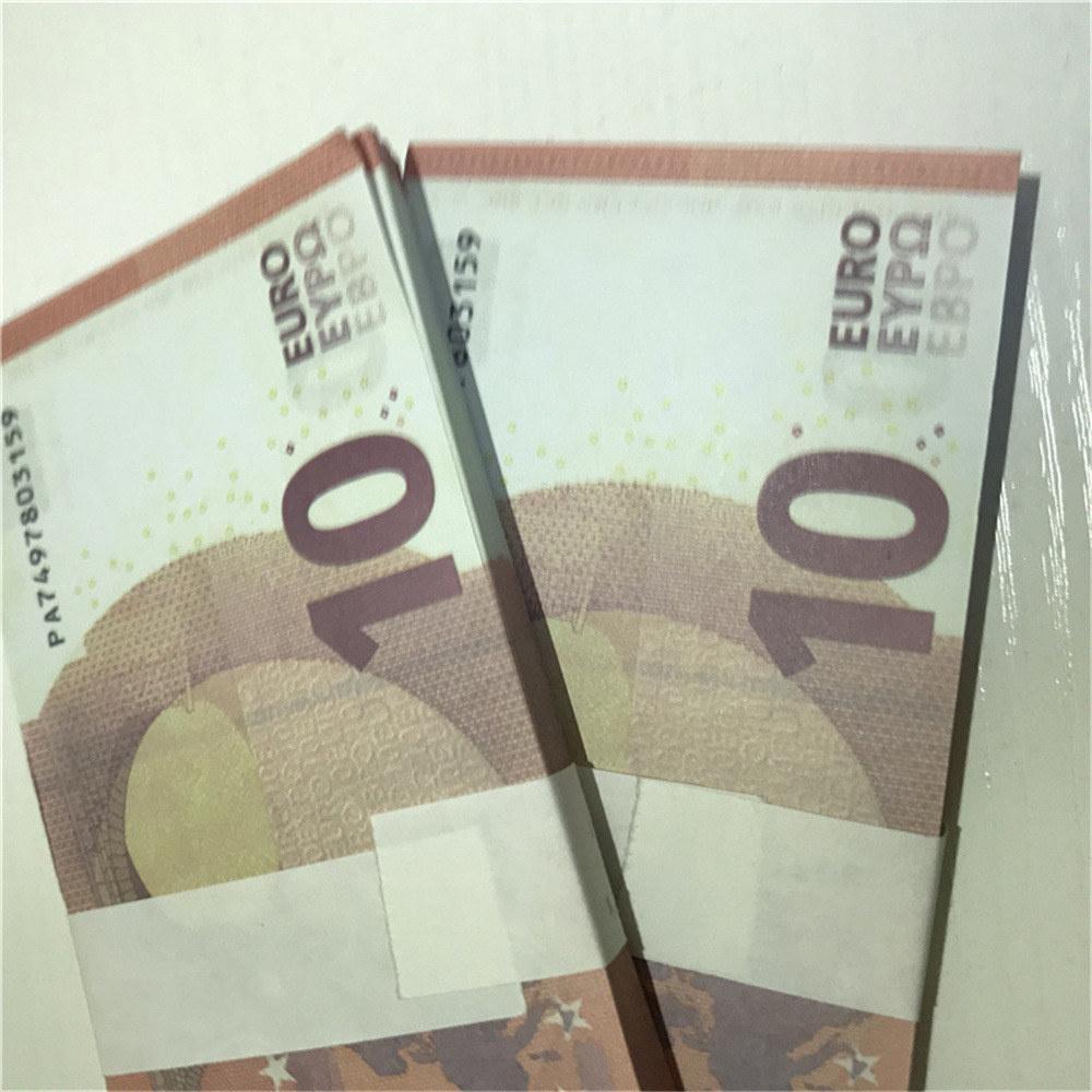 Валюта Реалистичная копия Игрушечный бар Евро Faux Banget Banknote Горячие реквизиты Le10-38 10 Complet Corp Corp Xjnfa Cruat