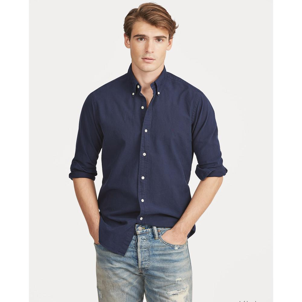 Camicia da uomo Polo a maniche lunghe Casual Solid Shirt da uomo RL Polos Shirts Fashion Oxford Shirt Social Shirts Nuovo arrivo