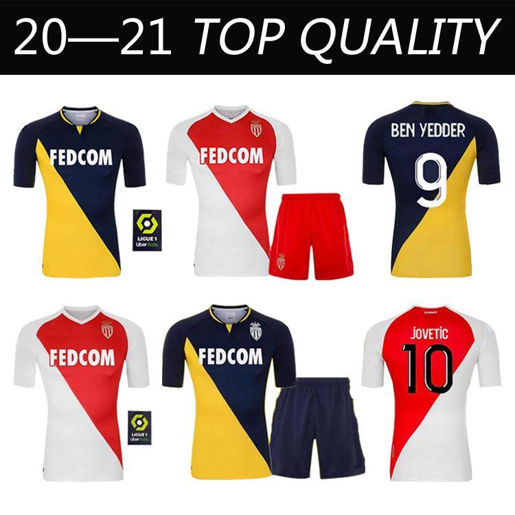2020 2021 Calidad superior como Mónaco Ben Yedder Jerseys de fútbol JOVETIC GOLOVIN 20 21 Maillot de pie Flocage Jorge Hombres Camisa de fútbol para niños