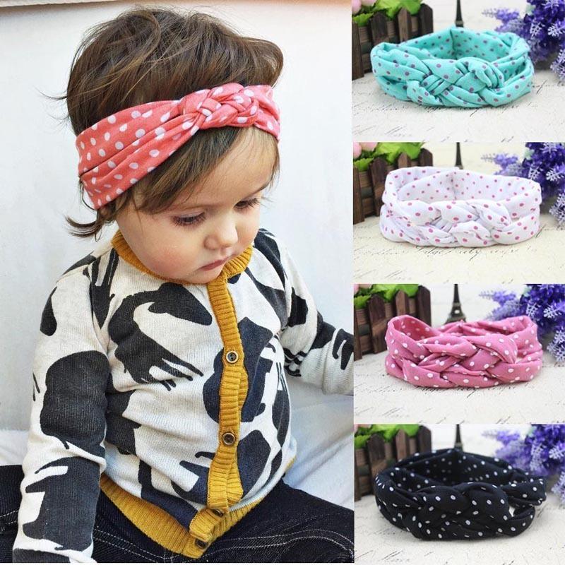 Accesorios para el cabello 5 colores del bebé de los niños del nudo trenzado vendas Turbante del lunar de la Cruz nudo bebé turbante nudo del lazo abrigo de la cabeza de los niños