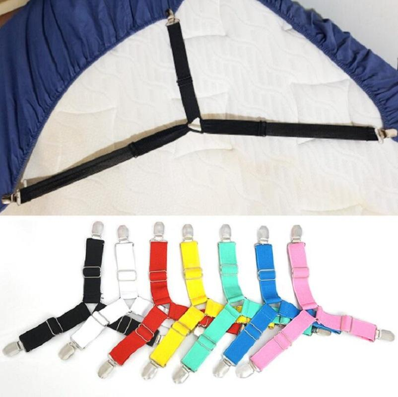 Bed Sheet Clips 4 Pcs Adjustable Triangle Bed Anti-slip Button Multi Function Adjustment Buckles Mattress Fastener Holder Grippers DHF3353