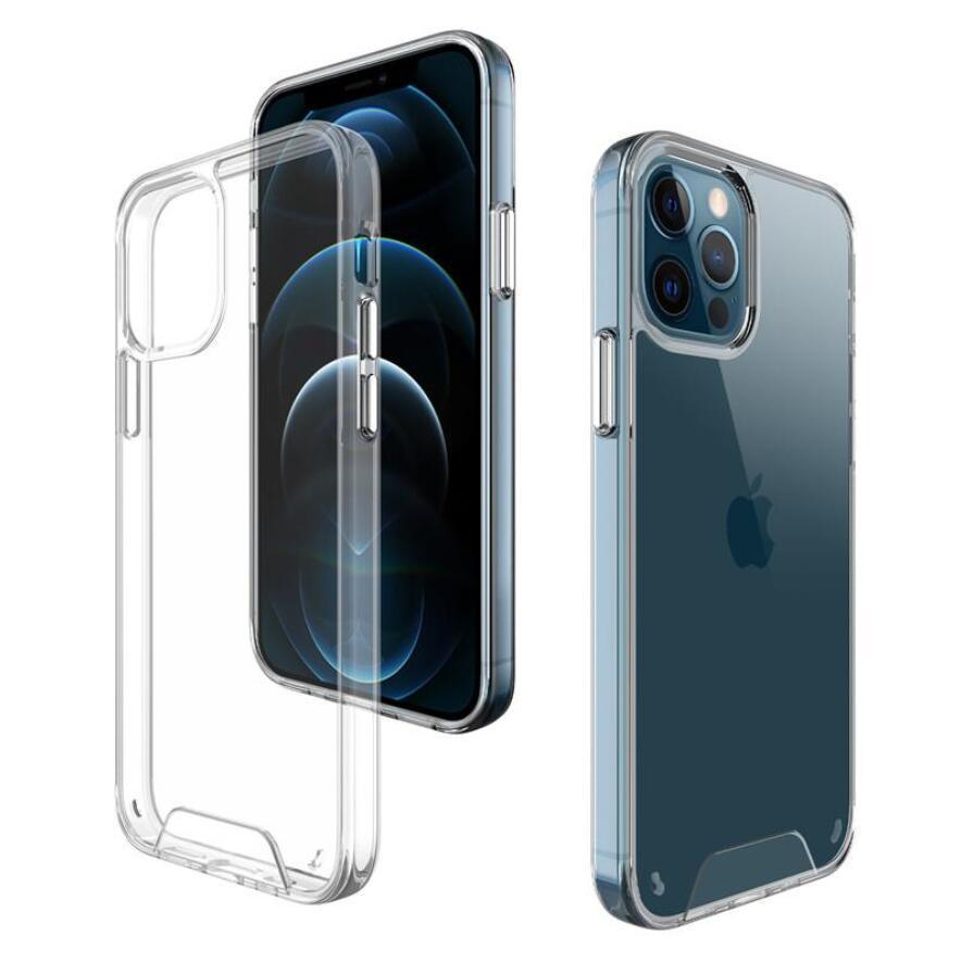 Espace transparent Case acrylique Hybride acrylique antichoc pour pour iPhone 12 11 Pro Max XR XS Max Samsung S20 Note20 A71