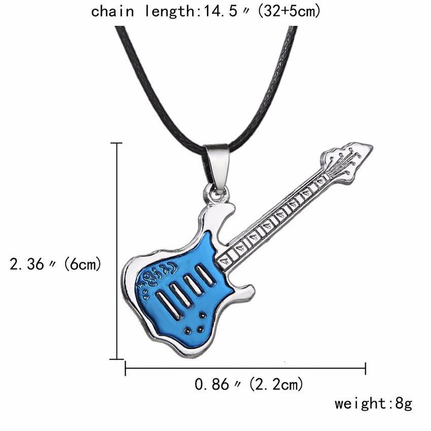Cadeia de couro na moda guitarra cadeia para homens punk rock música jóias presente de aço inoxidável colar pingant atacado hm99