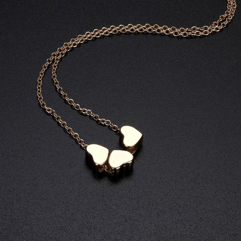 Красота шарм женщины из нержавеющей стали три сердца кулон цепи ожерелье F627