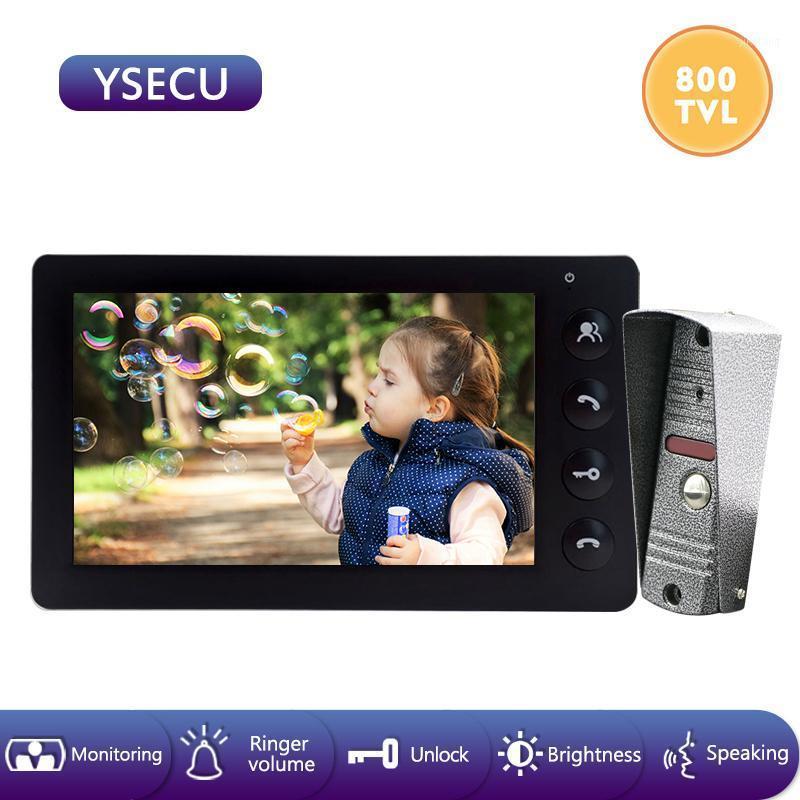 YSECU 7''Wired Video Doorbell Intercom System Video Camera color LCD Indoor Monitor Unlock Talking Door Built-in Power1