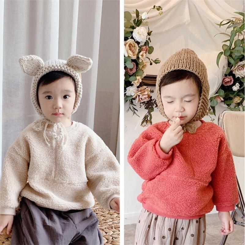 Enfants Pulls Sweat-shirt Hiver Nouvelle fille Baby Girl Tops Tops chauds Fashion Boys Plus Velvet Chaud Sweater 201210
