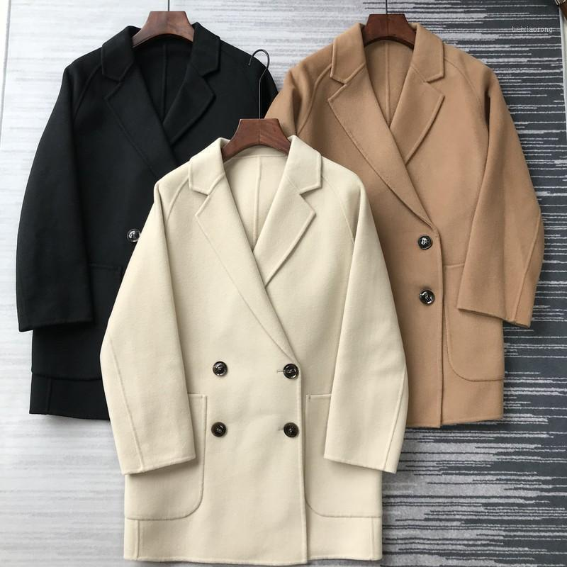 Women Coat Classic Wool and Cashmere Coat Double Breasted1