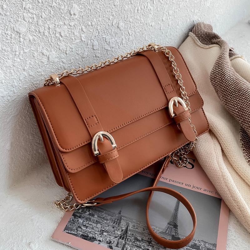 Kette Crossbody PU Leder Design Schulter für Frauen Mode Frauen Klappe Handtaschen Trend Feste Taschen Farbe Lohe 2021 Geldbörsen Handtaschen Mhpmg