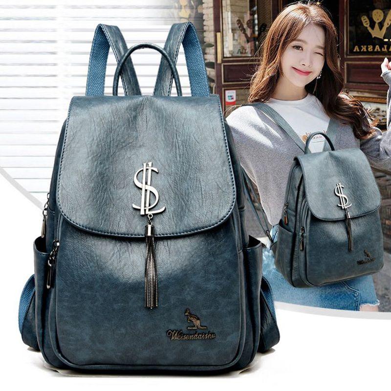 2021 New Women Backpack Designer High Quality Leather School Bags Large Capacity Travel Backpacks Mochila Female Bagpack Q1129