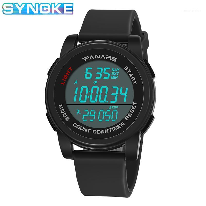 Synoche Männer Sport Digitaluhren LED-Anzeige Wasserdichte Stoppuhr Relogio Masculino-Schrittzähler Wecker Elektronische Uhr Männer Männer