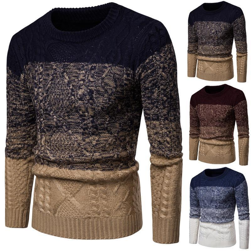 New men's thickened flower gradient sweater Christmas clothes sweater mens clothes fashion