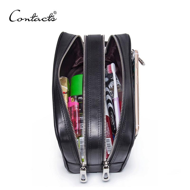 Kontakt Echtes Leder Make-up Tasche Männer Hohe Qualität Männer Kosmetiktaschen Mann Reisetaschen Schwarz Waschbeutel Luxus Doppel Reißverschluss