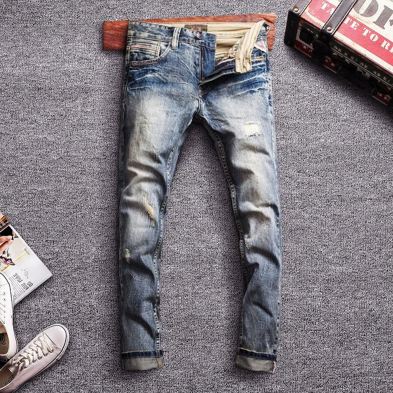 2021 Nouveau Classic Manly Cotton Coton Fit Fit Pantalon Denim Vintage Ripping Man Streetwear Hip Jeans ICP4