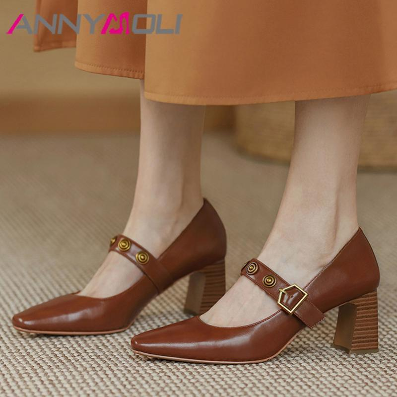 Annymoli Mary Janes Chaussures Femmes Cuir Real Talons High High Talons Pompes Boucle Boucle Sangle Toe Carré Femme Chaussures Beige Taille 43