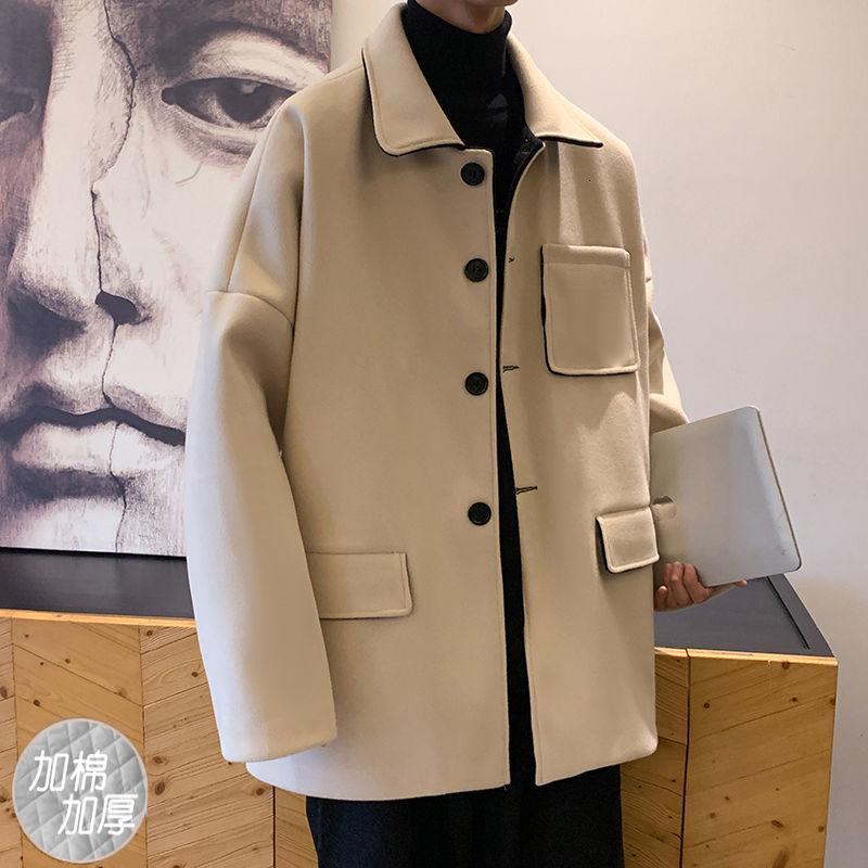 2020 Winter Men's Youth Woolen Blends Cashmere Trench de lã Casacos de neve Parkas de alta qualidade em roupas quentes de algodão
