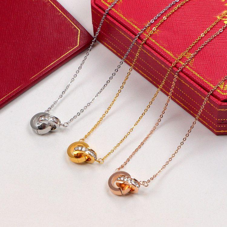 قلادة الدائرة المزدوجة ارتفع الذهب الفضة اللون قلادة مع حجر للنساء خمر طوق مجوهرات مجوهرات مع مربع مربع الأصلي