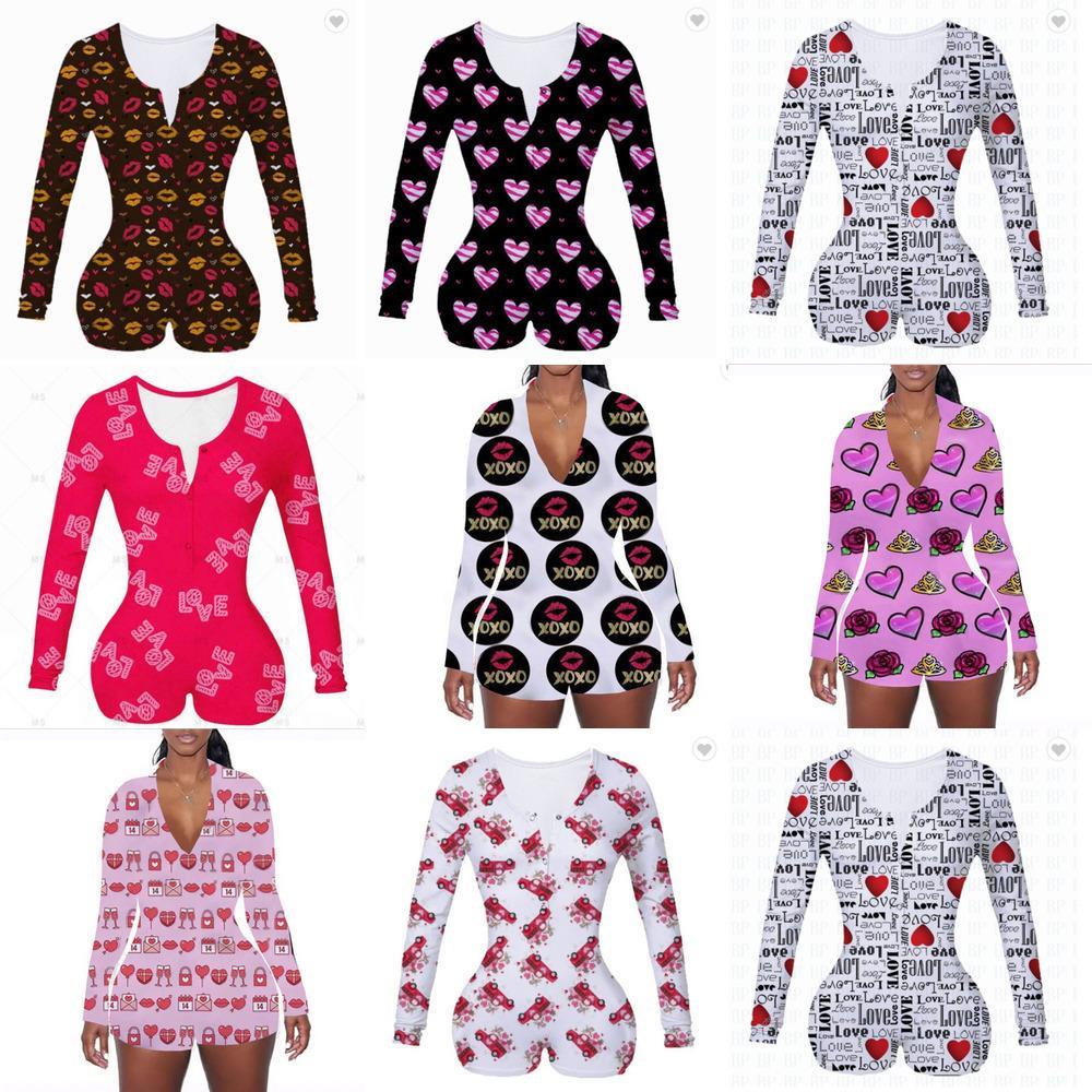 2021 여성 Rompers 디자이너 인쇄 긴 소매 jumpsuit 반바지 Onesies 발렌타인 데이 v 목 bodysuit 원피스 전반적인 잠옷 HH12801