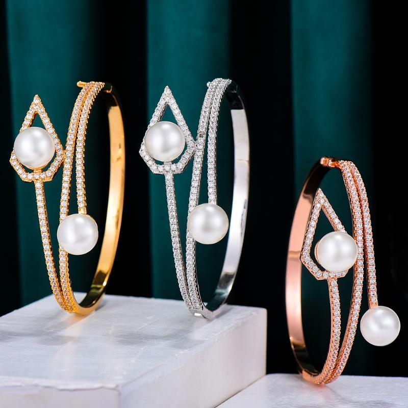 Missvikki Kreuz Stapelbare Afrikanische Perlen Armreif Für Frauen Hochzeit Luxus Full Cubic Zirkon Kristall Dubai Armband Party Schmuck