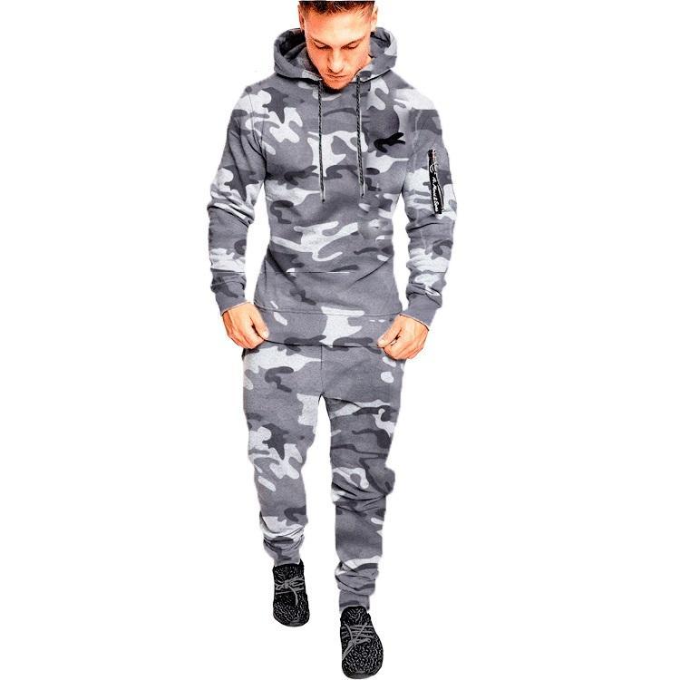 Camuflaje de los hombres concursos con capucha + conjuntos de pantalones conjuntos de pantalones masculinos Hoombre Sportswear Juvenil Deporte Casual Outwear Trajes