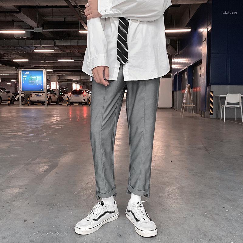 2020 Autunno e inverno New Youth Popular Popular Version coreana Ins Pantaloni a colori solidi sfusi Moda Casual Dritto Pantaloni da nove punti