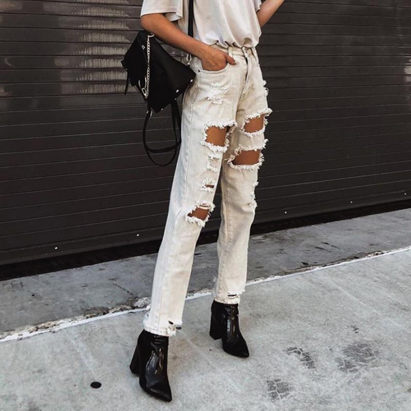 Streetwear Women White Jeans Ripped Jeans Summer Hole Straight Leg Cargo Style Pants For Teenage Girls Solid Denim Women Pants