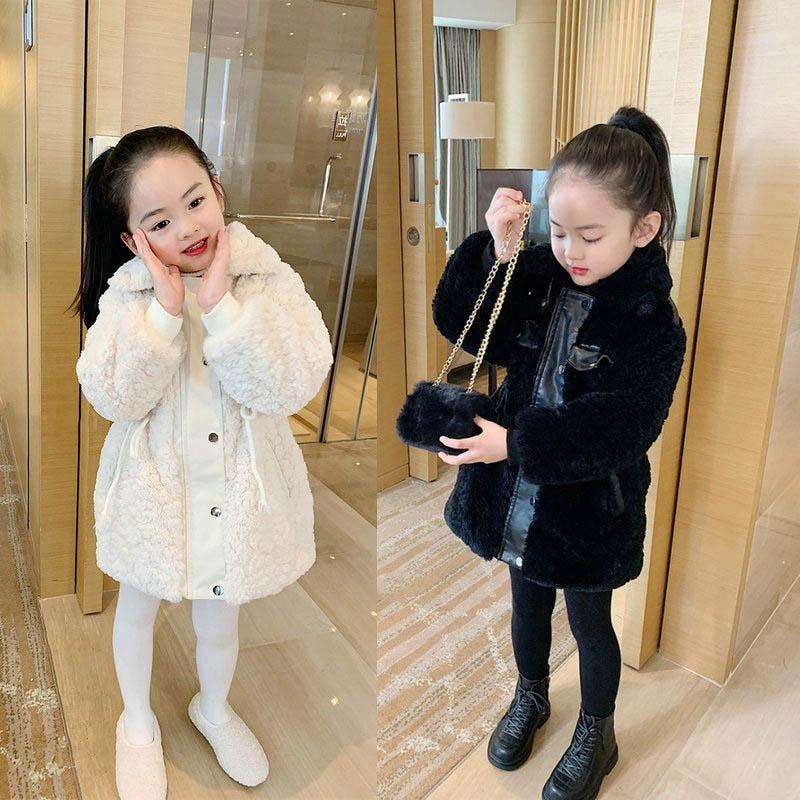 Yeni Kış Peluş Kadife Kız Palto Moda Uzun Çocuklar Palto Kız Ceket Çocuk Giyim Çocuk Giyim Kız Giyim Perakende B3547