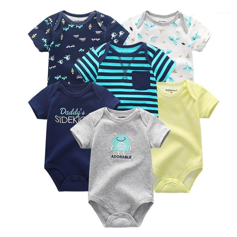6 pçs / lote unisex baby macacão macacão manga curta 100% algodão o-pescoço 0-12m romance menino menino menino conjunto de roupas1