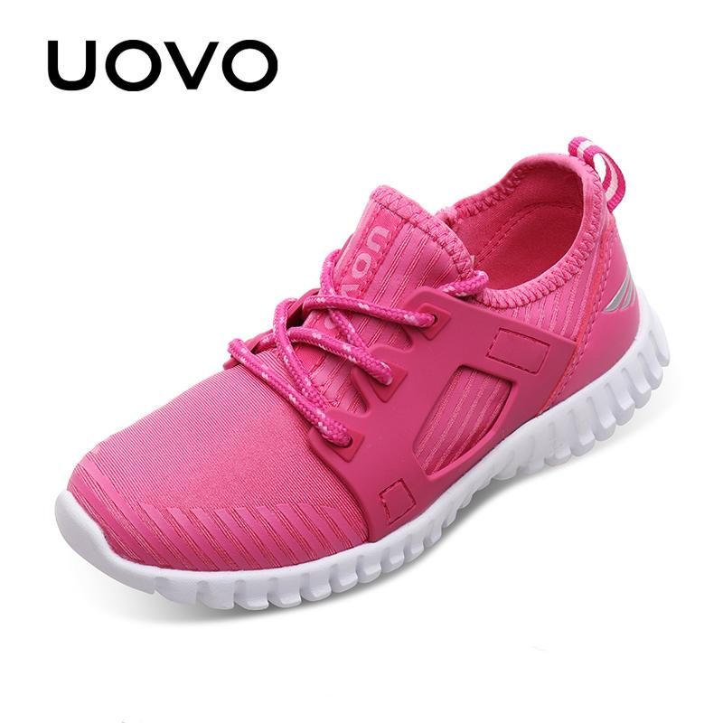 UOVO 2020 New Kids Stylish Sneakers Lace-up Closure Kids Shoes Light-weigth Comfortable Girls Shoes Eur 31#-37# Y1118