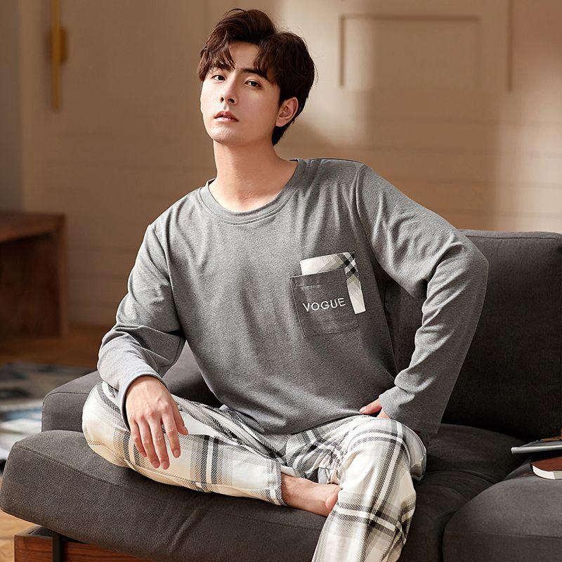 Autunno inverno mens pigiama set 100% cotone sleepwear pjs maschio home vestito manica lunga manica lunga uomo pigiama set plus size l-3xl pijama