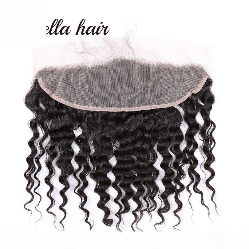 Vague profonde brésilienne 13 * 4 oreille à l'oreille dentelle fermeture frontale extensions de cheveux humains extensions dentelle fermeture livraison gratuite bella cheveux produits