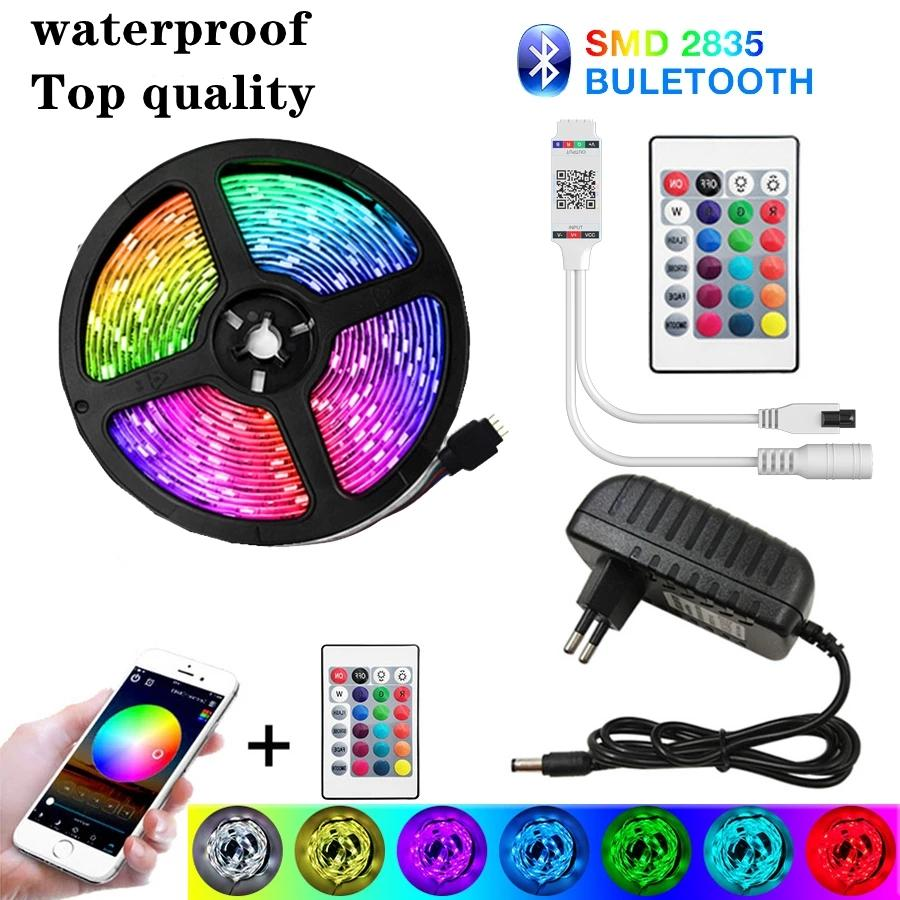 LED 스트립 라이트 블루투스 20M RGB 2835 유연한 리본 방수 RGB LED SMD 라이트 5M 10M 테이프 다이오드 12V 30Light / M WiFi 제어