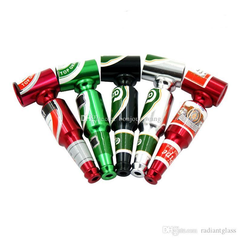 Mini Bottiglia di birra Tubo di metallo 3.27 pollici Tubi fumatori Tubi del bruciatore dell'olio Miglior regalo per fumatore portatile tabacco a base di erbe