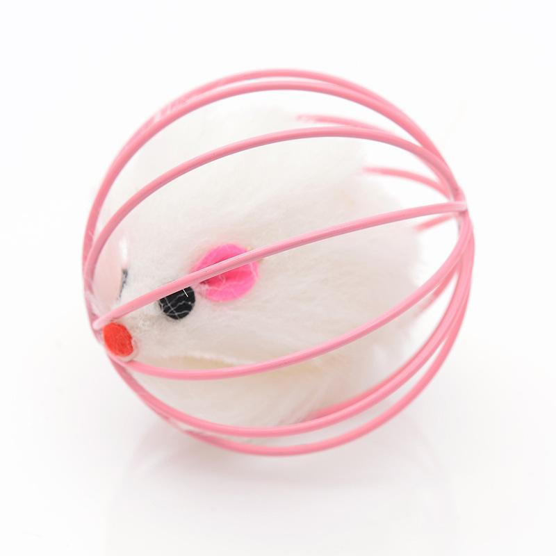 Интерактивная игрушка смешная плюшевая мышь внутри проволочной клетки милый Pet Cat царапая круглые кошки поставляет игрушки высокое качество 1 2cx k2