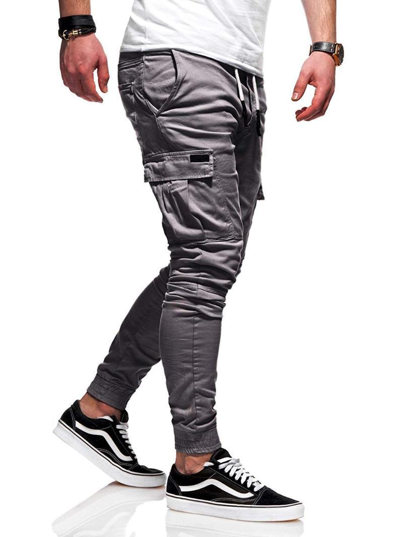 Мужские брюки Грузовые Мужские Мужские Мужские Jogger Повседневная Наружные Упругие Усилистые Стримовые Усверхивания Карандаш Drawstring Хлопковые брюки