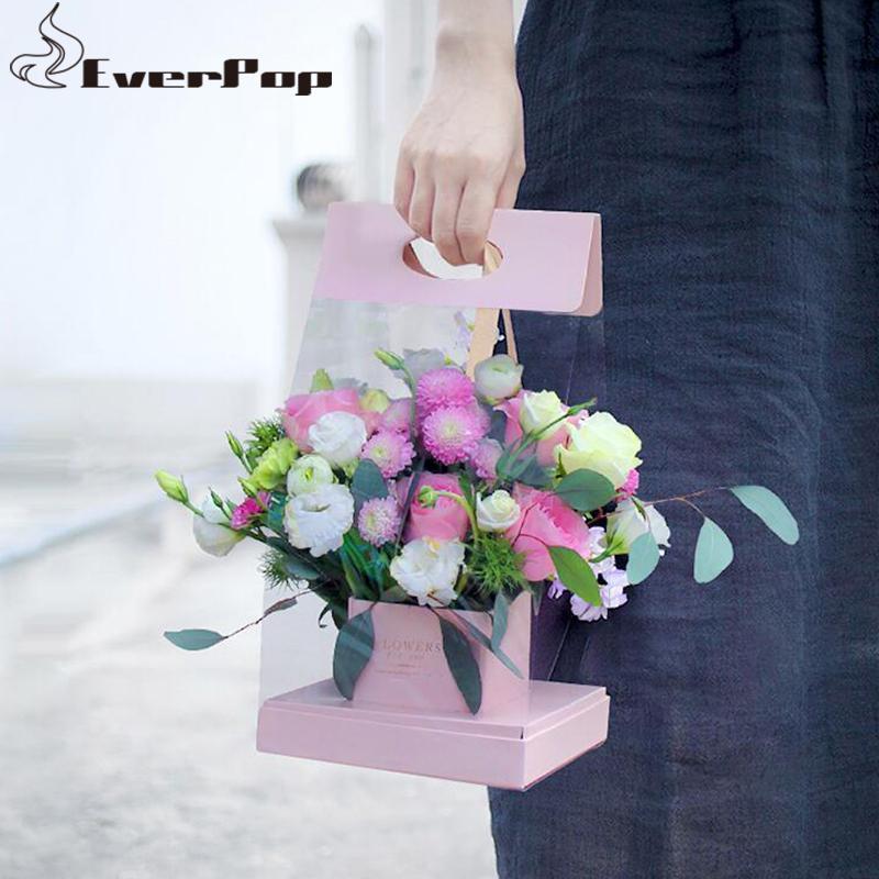 2pcs lot 40x20x20cm Portable Boîte de fleurs Packaging Panier de fleurs Cadeau Papier Papier Box Fleuriste Fournitures de fleuriste 4 couleurs