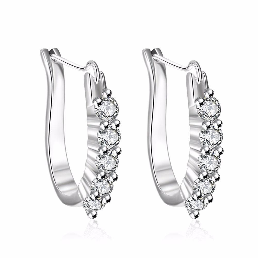 Großhandelspreis Silber Weiße Kristall Stein Ohrringe für Frauen Hochzeit Dame Ohrringe Zirkon Schmuck Kristall Ohrringe E312 H SQCQNK
