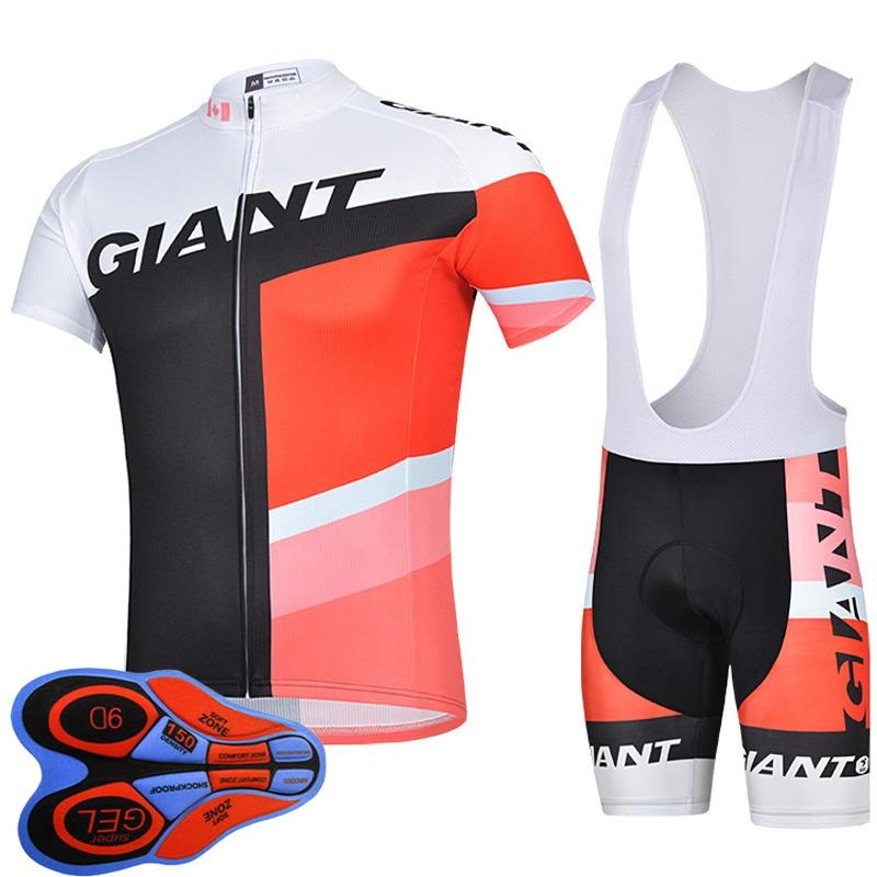 Новая команда Гигантский с коротким рукавом Велоспорт Джерси Костюм Высокое Качество Летние ROPA Ciclismo Профессиональное дышать быстро верховая одежда Y103006