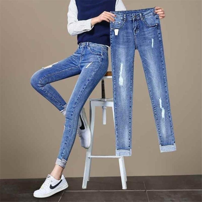 Мода плюс размер разорванные джинсы для женщин высокая талия дыра голубые эластичные брюки карандаша старинные худые джинсовые джинсы девять джинсов женщины 20103