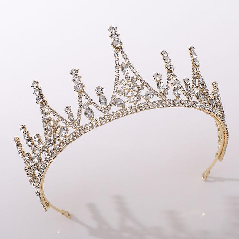 Gold / Silber Farbe Barockstil Glänzende Kristall Tiara und Kronen De Noiva Royal Princess DiaDema Braut Hochzeit Haar Zubehör1