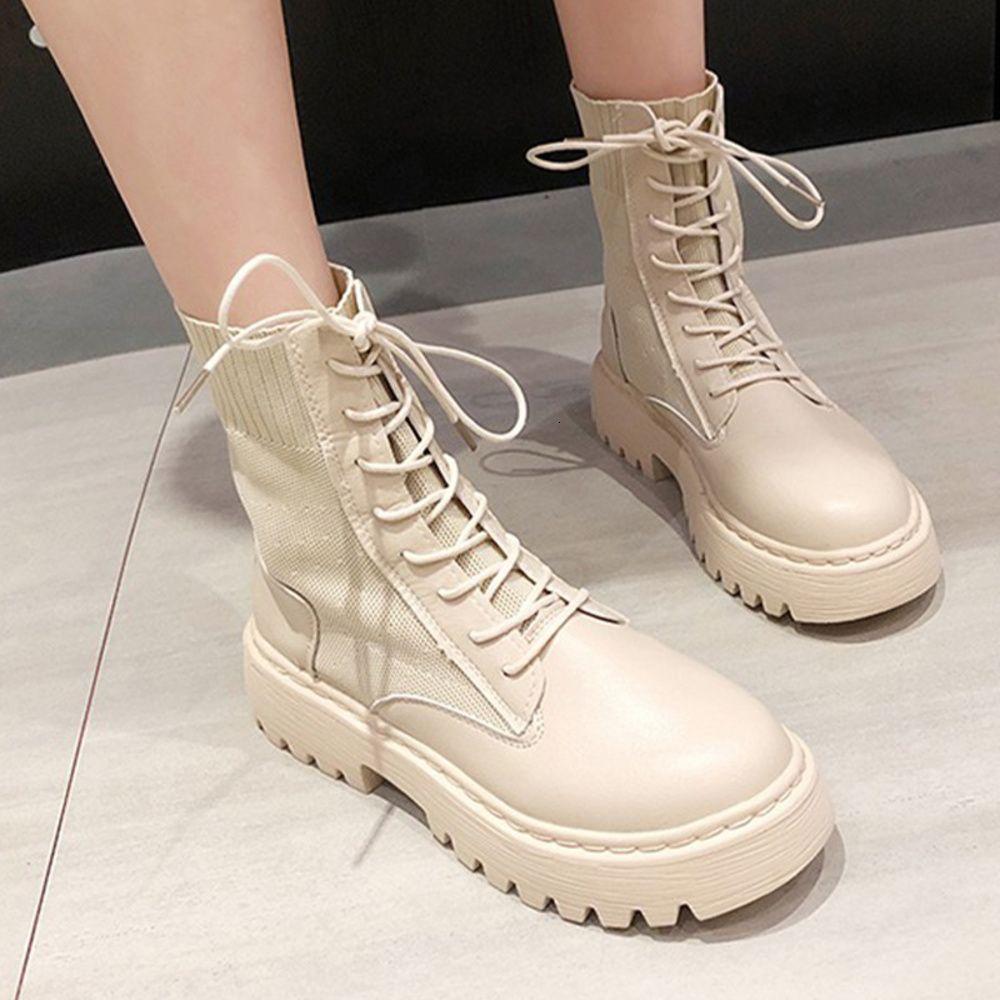 الشتاء الكاحل المرأة منصة بو الجلود 2020 دراجة نارية الأحذية النسائية أحذية كثيفة كعب الإناث الأحذية الدانتيل يصل الأزياء التمهيد
