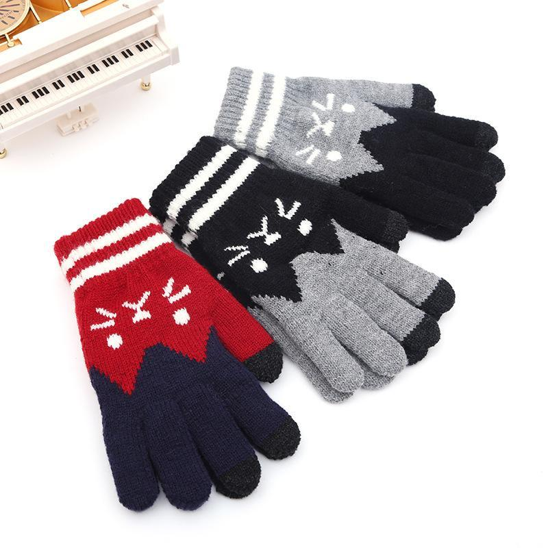 Cute Kitty Five Fingers Womens Knitting Touch Screen Gloves Jacquard Touch Screen Fingers Fashion Warm Gloves B46 Abraham1