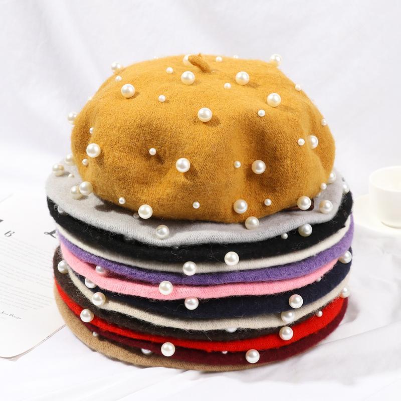 Las mujeres boina de lana invierno de las muchachas de lujo del sombrero del otoño elegante rebordear Perlas Artista Pintor francés Cap Soft Casual espesan los sombreros calientes