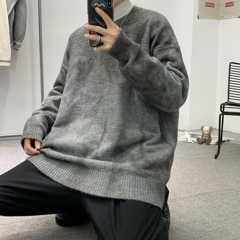 Winter Bindung schmutziger Pullover für Männer lose Rundhals Pullover Langarm Pullover Wärme Verdicken Tops Casual Männliche Kleidung