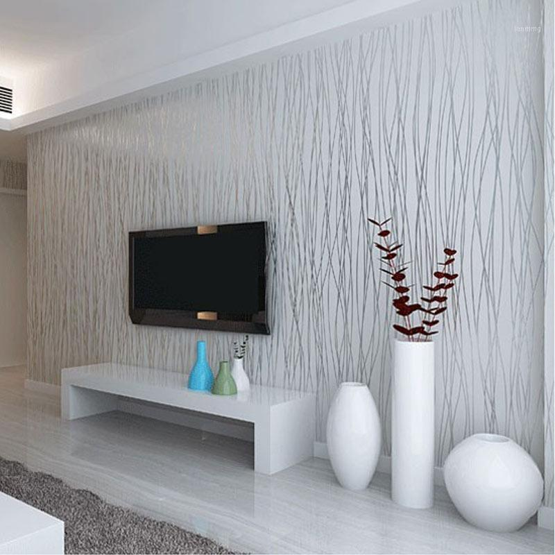 Wholesale-Non-Woven Fashion Thin Flocking Vertical Stripes Wallpaper For Living Room Sofa Background Walls Home Wallpaper 3D Grey Silver1