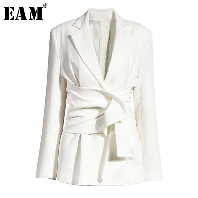[EAM] Женщины Белый Узел Сплит Соединение Нерегулярное Blazer Новый Отворот С Длинным Рукавом Свободная подходящая Куртка Мода Весна Осень 2020 LJ201214