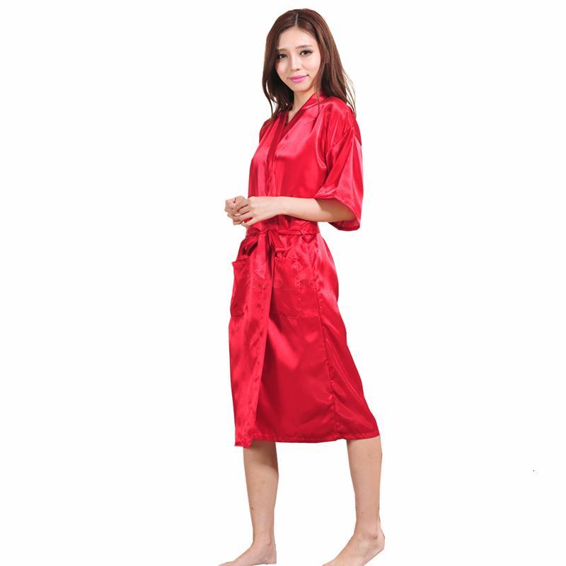 Женщины шелковые твердые халаты свадьба свадьба невесты 9 цветов невесты кимоно длинные пижамы летняя ночь леди пижама LJJA2508-10