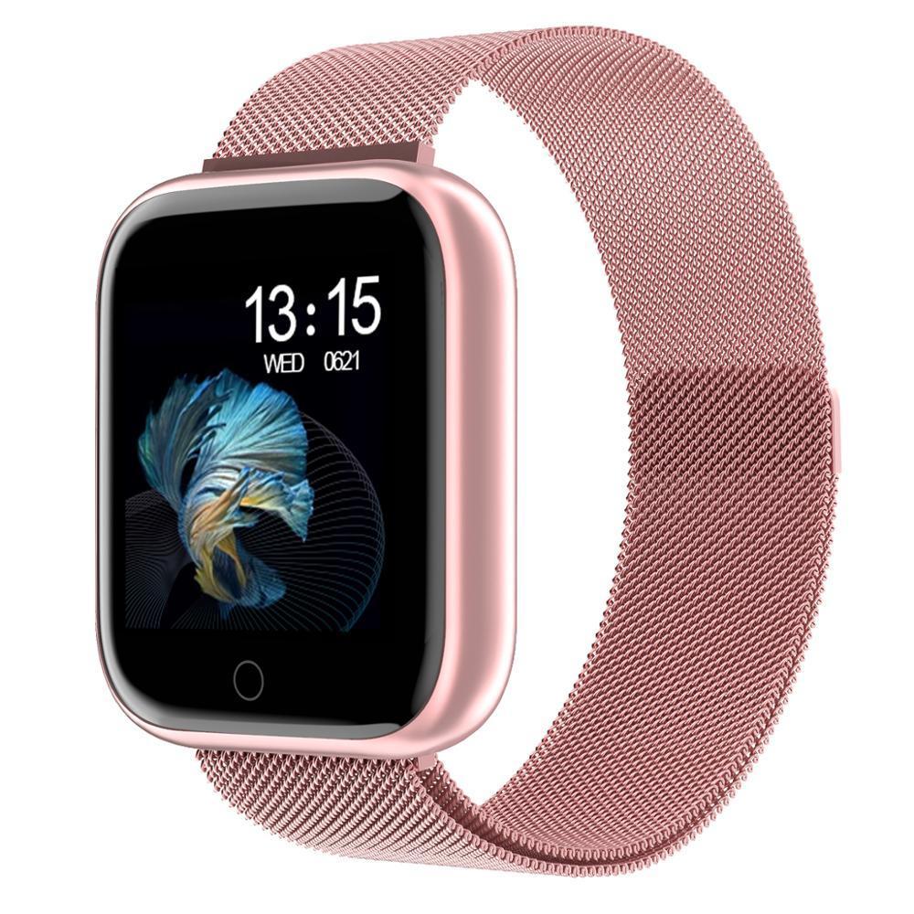 새로운 여성 방수 스마트 시계 T80 / P70 블루투스 Smartwatch 심박수 모니터 피트니스 트래커 무료 시계 밴드 # 015