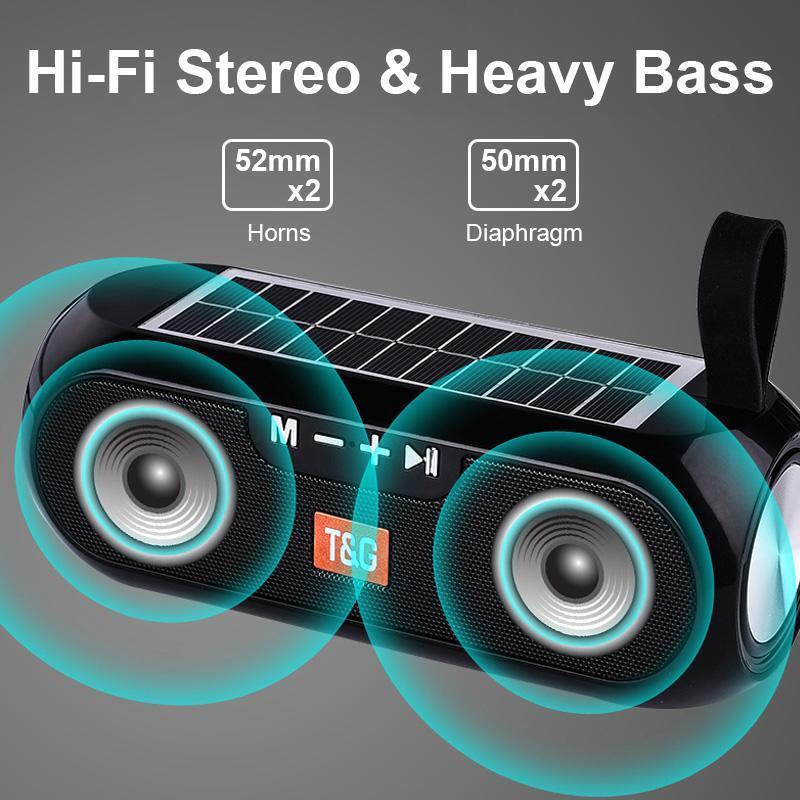 TG182 Güneş Enerjisi Bluetooth Hoparlör Taşınabilir Sütun Kablosuz Stereo Müzik Kutusu Banka Boombox TWS 5.0 Açık Destek TF / USB / AUX