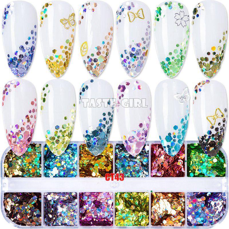 12 Griglie / scatola Mix Super glitter Holographic Laser Hexagon Paillettes Vari paillettes Pop Paillette Nail Art Slitta decorazione manicure fai da te set